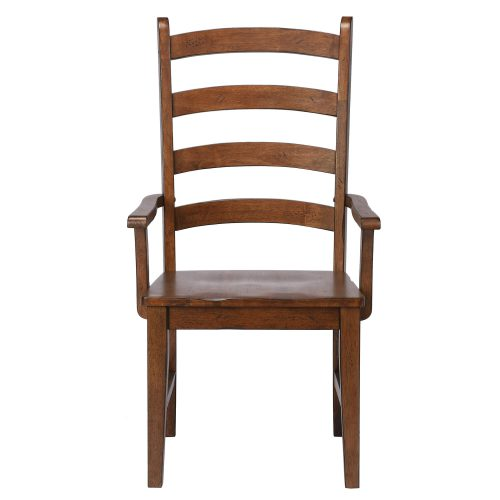 Amish Dining - Ladder back dining armchair finished in chestnut - front view DLU-BR-C80A-AM-2