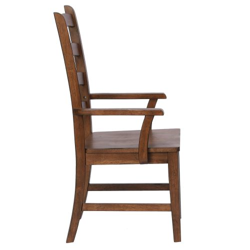 Amish Dining - Ladder back dining armchair finished in chestnut - side view DLU-BR-C80A-AM-2