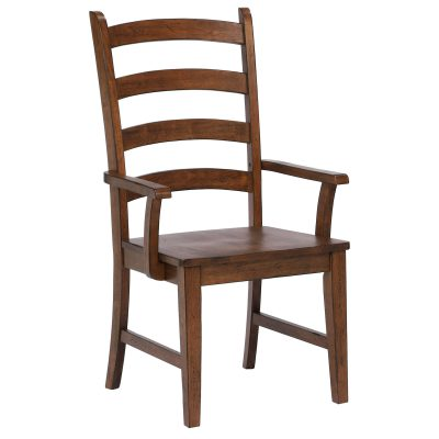 Amish Dining - Ladder back dining armchair finished in chestnut - three-quarter view DLU-BR-C80A-AM-2