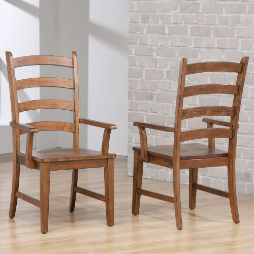 Amish Dining - Ladder back dining armchairs finished in chestnut - room setting DLU-BR-C80A-AM-2