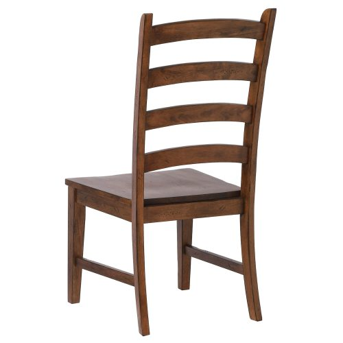 Amish Dining - Ladder back dining side chair finished in chestnut - angled back view DLU-BR-C80-AM-2