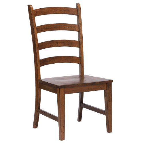 Amish Dining - Ladder back dining side chair finished in chestnut - three-quarter view DLU-BR-C80-AM-2
