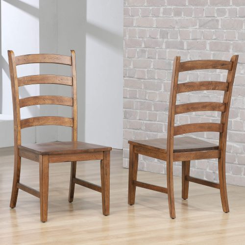 Amish Dining - Ladder back dining side chairs finished in chestnut - room setting DLU-BR-C80-AM-2