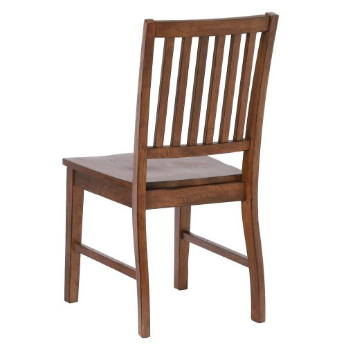 Amish Dining - Slat-back dining chair finished in chestnut - angled back view DLU-BR-C60-AM-2