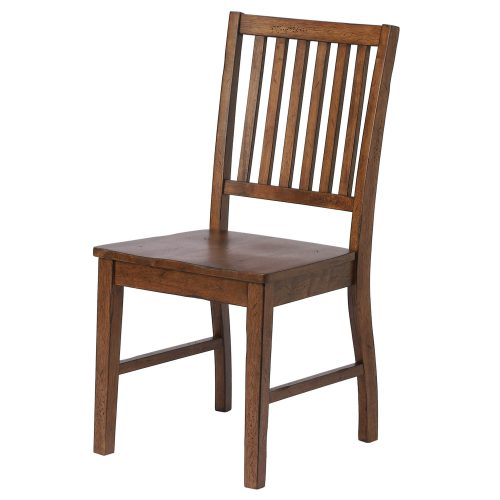Amish Dining - Slat-back dining chair finished in chestnut - angled view DLU-BR-C60-AM-2