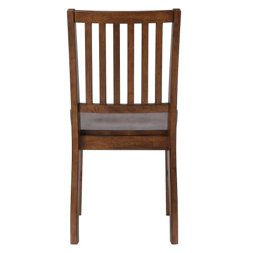 Amish Dining - Slat-back dining chair finished in chestnut - back view DLU-BR-C60-AM-2