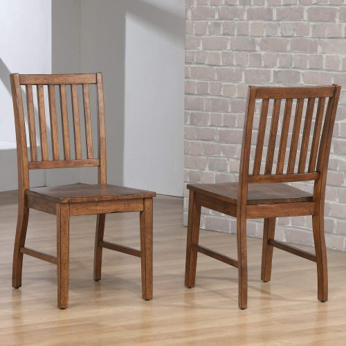 Amish Dining - Slat-back dining chair finished in chestnut - room setting DLU-BR-C60-AM-2