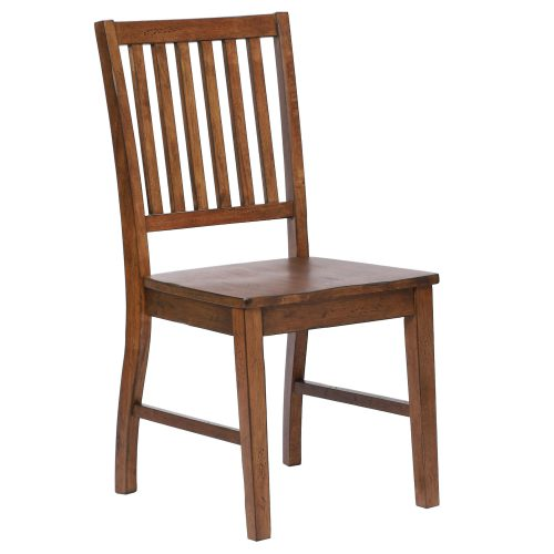 Amish Dining - Slat-back dining chair finished in chestnut - three-quarter view DLU-BR-C60-AM-2