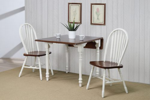 Andrews Dining - 3-piece dining set -Drop leaf dining table with two Arrow-back chairs finished in antique white with a chestnut top dining room corner setting DLU-ADW3448-820-AW3PC
