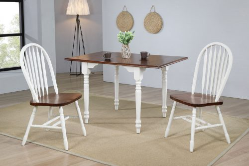 Andrews Dining - 3-piece dining set -Drop leaf dining table with two Arrow-back chairs finished in antique white with a chestnut top dining room setting DLU-ADW3448-820-AW3PC