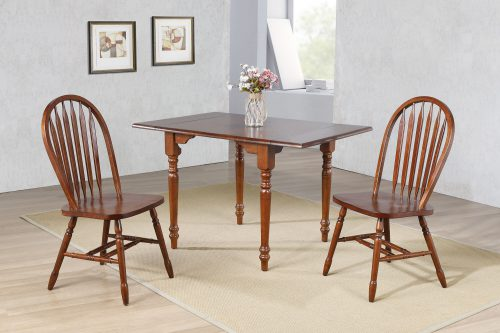 Andrews Dining - 3-piece dining set -Drop leaf dining table with two Arrow-back chairs finished in distressed chestnut - dining room setting DLU-ADW3448-820-CT3PC