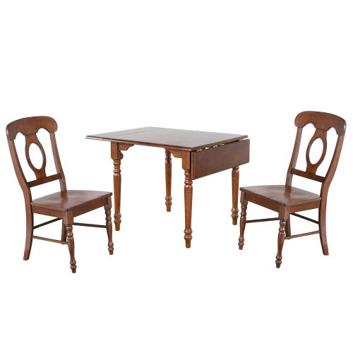 Andrews Dining - 3-piece dining set -Drop leaf dining table with two Napoleon chairs finished a distressed chestnut DLU-ADW3448-C50-CT3PC