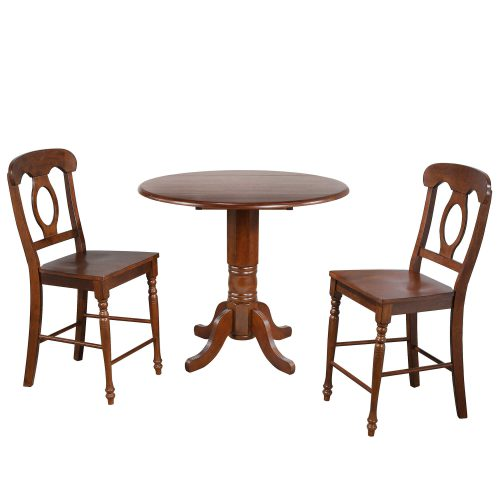 Andrews Dining - 3-piece dining set - Pub height dining table with two Napoleon stools finished in distressed Chestnut DLU-ADW4242CB-B50-CT3PC