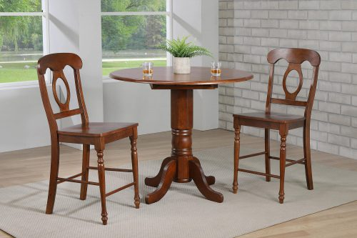 Andrews Dining - 3-piece dining set - Pub height dining table with two Napoleon stools finished in distressed Chestnut dining room setting DLU-ADW4242CB-B50-CT3PC