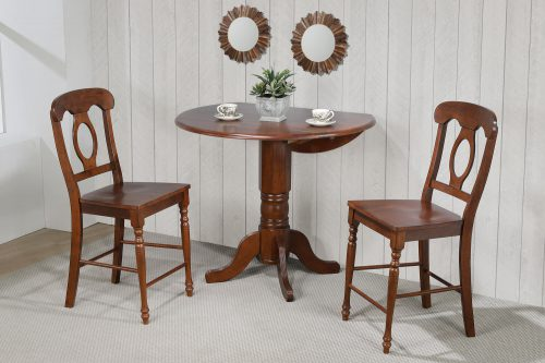 Andrews Dining - 3-piece dining set - Pub height dining table with two Napoleon stools finished in distressed Chestnut dining room wall setting DLU-ADW4242CB-B50-CT3PC
