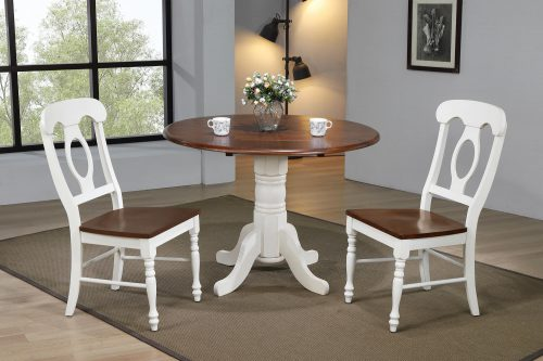 Andrews Dining - 3-piece dining set - Round dining table with drop leaf and two Napoleon chairs - finished in antique white with Chestnut top and seats dining room setting DLU-ADW4242-C50-AW3PC
