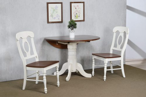 Andrews Dining - 3-piece dining set - Round dining table with drop leaf and two Napoleon chairs - finished in antique white with Chestnut top and seats dining room wall setting DLU-ADW4242-C50-AW3PC