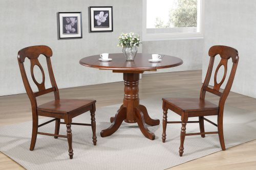 Andrews Dining - 3-piece dining set - Round dining table with drop leaf and two Napoleon chairs - finished in distressed Chestnut dining room setting DLU-ADW4242-C50-CT3PC