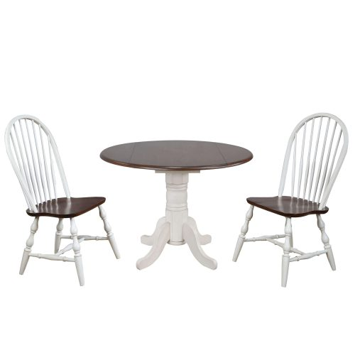 Andrews Dining - 3-piece dining set - Round dining table with drop leaf and two Spindle-back chairs - finished in antique white with Chestnut top and seats DLU-ADW4242-C30-AW3PC