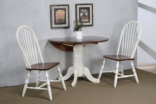 Andrews Dining - 3-piece dining set - Round dining table with drop leaf and two Spindle-back chairs - finished in antique white with Chestnut top and seats dining room wall setting DLU-ADW4242-C30-AW3PC