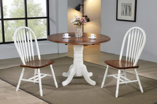 Andrews Dining - 3-piece dining set - Round drop leaf table with two Arrow-back chairs - finished in antique with with chestnut top and seats dining room setting DLU-ADW4242-820-AW3PC
