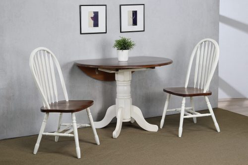 Andrews Dining - 3-piece dining set - Round drop leaf table with two Arrow-back chairs - finished in antique with with chestnut top and seats dining room wall setting DLU-ADW4242-820-AW3PC
