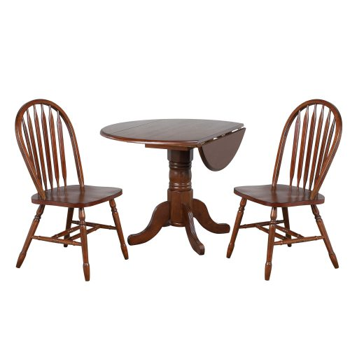 Andrews Dining 3-piece dining set - Round drop leaf table with two Arrow-back chairs finished in distressed chestnut DLU-ADW4242-820-CT3PC