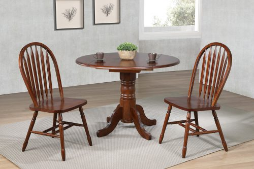 Andrews Dining 3-piece dining set - Round drop leaf table with two Arrow-back chairs finished in distressed chestnut dining room setting DLU-ADW4242-820-CT3PC