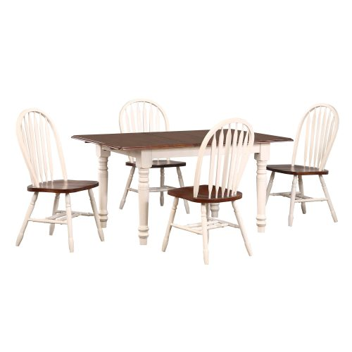 Andrews Dining 5-piece dining set - Butterfly dining table with four Arrow-back chairs fininshed in antique white with Chestnut top and seats DLU-TLB3660-820-AW5PC