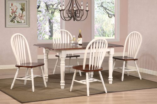 Andrews Dining 5-piece dining set - Butterfly dining table with four Arrow-back chairs fininshed in antique white with Chestnut top and seats dining room setting DLU-TLB3660-820-AW5PC