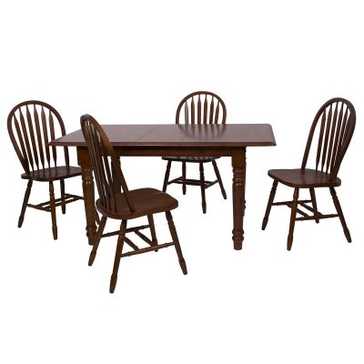 Andrews Dining 5-piece dining set - Butterfly dining table with four Arrow-back chairs finished in distressed Chestnut DLU-TLB3660-820-CT5PC