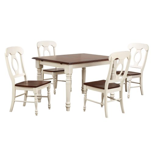 Andrews Dining 5-piece dining set - Butterfly dining table with four Napoleon chairs finished in antique white with chestnut top and seats DLU-ADW3660-C50-AW5PC