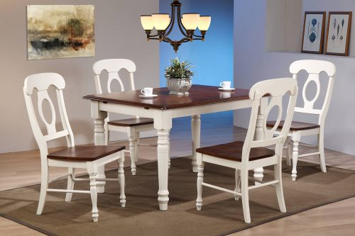Andrews Dining 5-piece dining set - Butterfly dining table with four Napoleon chairs finished in antique white with chestnut top and seats dining room setting DLU-ADW3660-C50-AW5PC