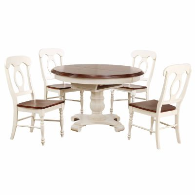 Andrews Dining - 5-piece dining set - Butterfly leaf dining table with four Napoleon chairs finished in antique white with chestnut accents DLU-ADW4866-C50-AW5PC