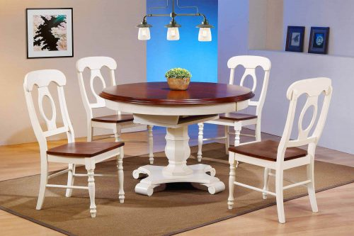 Andrews Dining - 5-piece dining set - Butterfly leaf dining table with four Napoleon chairs finished in antique white with chestnut accetns dining room setting DLU-ADW4866-C50-AW5PC