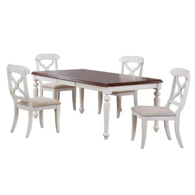 Andrews Dining - 5-piece dining set - Butterfly leaf dining table with four Napoleon chairs finished in antique white with chestnut top DLU-ADW4276-C12-AW5PC