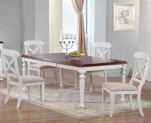 Andrews Dining - 5-piece dining set - Butterfly leaf dining table with four Napoleon chairs finished in antique white with chestnut top dining room setting DLU-ADW4276-C12-AW5PC