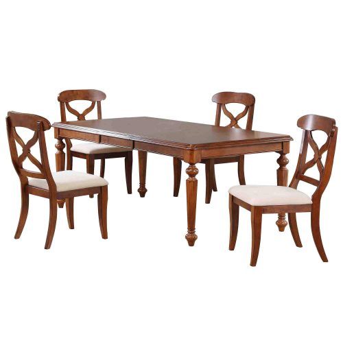 Andrews Dining - 5-piece dining set - Butterfly leaf dining table with four Napoleon chars finished in distressed chestnut DLU-ADW4276-C12-CT5PC