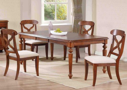 Andrews Dining - 5-piece dining set - Butterfly leaf dining table with four Napoleon chars finished in distressed chestnut dining room setting DLU-ADW4276-C12-CT5PC
