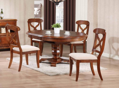 Andrews Dining 5-piece dining set - Butterfly leaf dining table with four upholstered criss-cross chairs finished in distressed Chestnut dining room setting DLU-ADW4866-C12-CT5PC