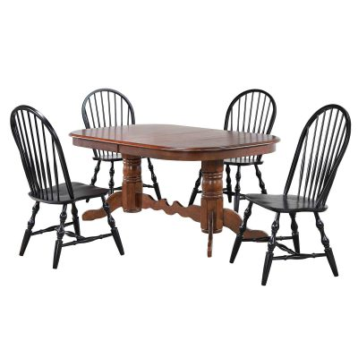 Andrews Dining 5-piece dining set - Double pedestal table finished in distressed Chestnut and with four Windsor chairs in antique black DLU-ADW4296CT-C30-AB5PC