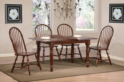 Andrews Dining 5-piece dining set - extendable dining table with leaf and four Windsor chairs finished in distressed Chestnut dining room setting DLU-TLB3660-C30-CT5PC