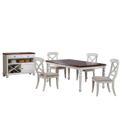 Andrews Dining - 6-piece dining set - Butterfly leaf dining table with four Napoleon chairs and server finished in antique white with chestnut top DLU-ADW4276-C12-SRAW6PC
