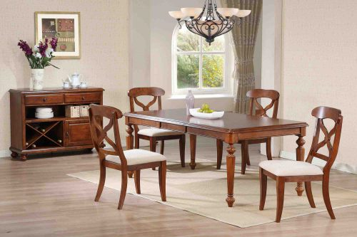 Andrews Dining - 6-piece dining set - Butterfly leaf dining table with four Napoleon chairs and server finished in distressed chestnut dining room setting DLU-ADW4276-C12-SRCT6PC