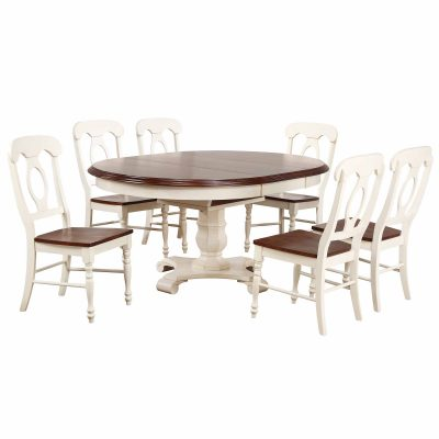 Andrews Dining - 7-piece dining set - Butterfly leaf dining table with six Napoleon chairs finished in antique white with chestnut accents DLU-ADW4866-C50-AW7PC