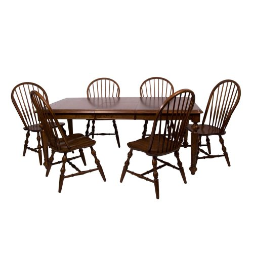 Andrews Dining - 7-piece dining set - Butterfly leaf dining table with six Windsor chairs finished in distressed chestnut angled view DLU-ADW4276-C30-CT7PC