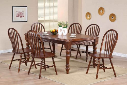 Andrews Dining 7-piece dining set - Extendable dining table with six Arrow-back chairs finished in distressed Chestnut dining room setting DLU-SLT4272-820-CT7PC