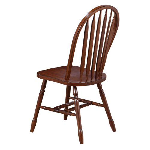 Andrews Dining - Arrow-back dining chair finished in distressed chestnut - back view - DLU-820-CT-2
