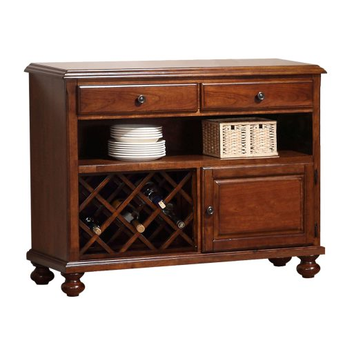 Andrews Dining Collection - Server in a Chestnut finish - three-quarter view with wine rack DLU-ADW-SER-CT