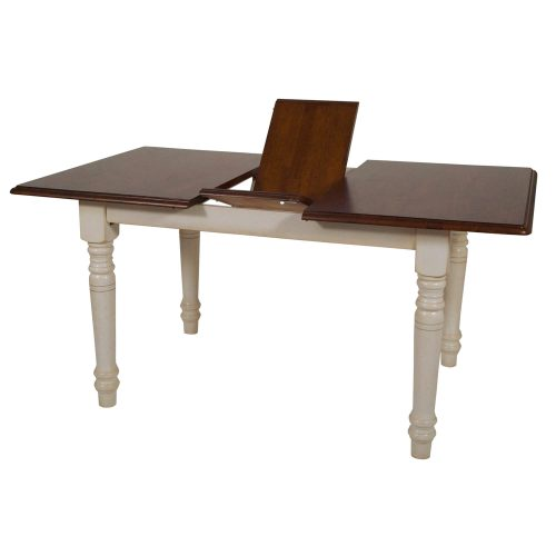Andrews Dining - Extendable dining table finished in antique white with a chestnut top extended view showing leaf DLU-TLB3660-AW